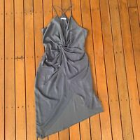 Sheike Size 16 Formal Cocktail Blue Dress Twist Elastic Waist Hi Low Hem Plus