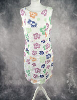 WHITE STUFF White Floral Print Cotton Shift Dress Size 12 Purple Lining