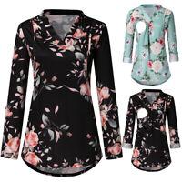 Women Maternity Plus Tunic Long Sleeve Tops V Neck Floral Nursing Blouse T Shirt