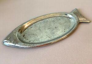Soviet Vintage Fabergé Inspired Fish Serving Plate, Oval Herring Platter, USSR