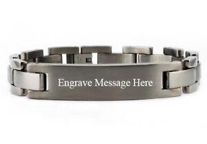 "Titanium Men's Classic Identification Bracelet Satin Finish 8.5"" FREE ENGRAVING"