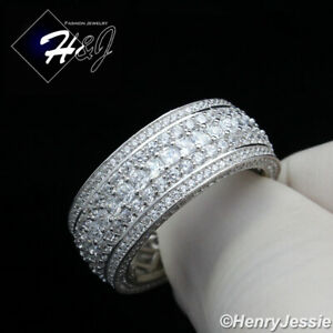 MEN 925 STERLING SILVER FULL ICY DIAMOND 10MM BLING WEDDING BAND RING*SR119