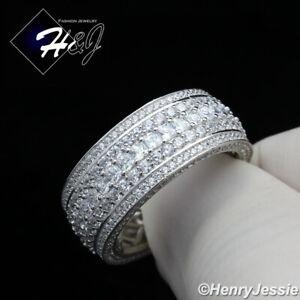 MEN 925 STERLING SILVER FULL ICY DIAMOND 10MM BLING WEDDING BAND RING*SR119