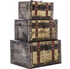 Vintage Style Trunk Box Set of Three New Storage Decor Sale Antique Style Fancy