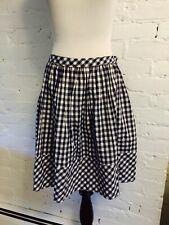 Norma Kamali Cotton Gathered Short Skirt Black & White Gingham 6a