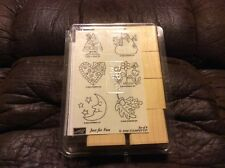 New Stampin Up! Just for Fun Set of 8 Wood Block Rubber Stamps/Crafts 2000
