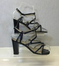 Block Heel Patent Leather Strappy Heels for Women