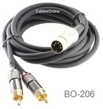 CablesOnline 6 ft 5 Pin DIN to 2-RCA Bang & Olufsen Audio Cable, BO-206