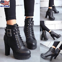 Womens Ladies Ankle Boots Rivet High Block Heel Lace Up Buckle Biker Shoes Size