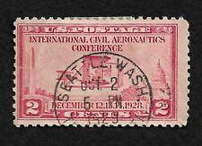 1928 International Civil Aeronautics Conf. Seattle Cancel 2c Stamp Hinged Sc 649