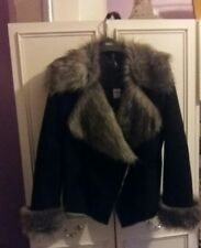 M&CO black faux suede jacket with faux fur collar and lapels RRP £75 NWT