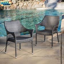 Outdoor Grey Wicker Stacking Chairs Set of 2 Garden Patio Furniture Backyard