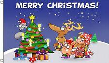 MERRY XMAS CHRISTMAS SCENE 5 X 3 FEET FLAG polyester flags SANTA CLAUS