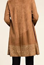 Vocal Brand New Faux Suede Gold Studded Bell Sleeve Jacket Sizes S,M,L,XL