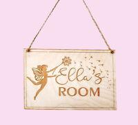 Personalised Wooden Plaque Door Room Sign Fairy Name Kids Baby Decor