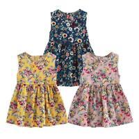 Summer Kids A-line Dresses Girls Sleeveless Floral Print Princess Dress HOT