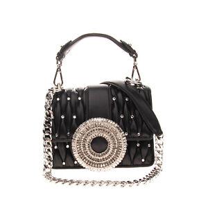 RRP €810 GEDEBE Matelasse Leather Satchel Bag HANDMADE Rhinestones Chain Strap