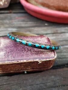 Vintage 70s Brass Cloisonné Bangle Embedded Turquoise Chips Cloisonne Bracelet