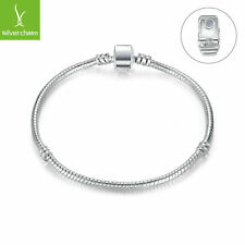 Silver Basic Snake Chain Magnet Clasp for Charm Bracelet & Bangle Jewelry 20cm