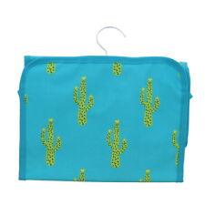 Turquoise Travel Cosmetic Bag w/Green Cactus Organizer Makeup Hanging Organizer