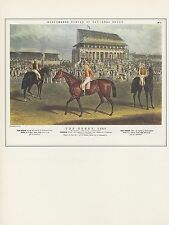 "1974 Vintage HORSE RACING ""THE DERBY"" by ACKERMANN COLOR Art Print Lithograph"