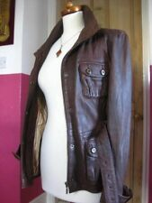 Ladies NEXT brown real leather JACKET COAT size UK 10 8 short SAFARI biker