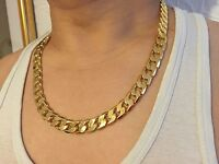 "24"" 12mm yellow Solid gold filled men's necklace curb chain jewelry STAMPED 24k"