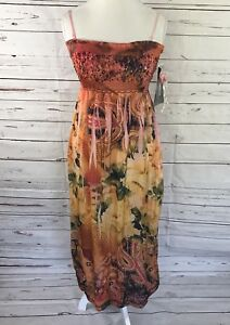 Lapis Women's One Size Fit All Dress Tropical Floral Spaghetti Straps NWT