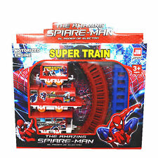 Super Heroes Spider-Man Figures Electric Train Track Set Kids Baby Boy Girl Toy