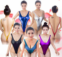 Sexy Women Metallic One-Piece Beach Swimwear High Cut Thong Bodysuit Lingerie