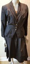 VTG 50s Black Silk Taffeta Lace 2 Pc. DRESS JACKET SET 8-10 Custom-Made PERFECT
