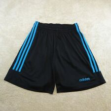 Adidas Climalite Shorts Youth Small Black Blue Spell Out Logo Drawstring Kids *