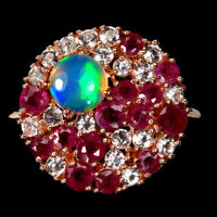 Unheated Round Fire Opal Ruby Topaz 14k Rose Gold Plate 925 Sterling Silver Ring