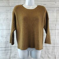 Cabi 3364 Womens Luna Pullover Cropped Boxy Sweater Sz Sm Brown Ribbed Knit Top
