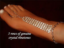 Thong Barefoot Anklet Smoking Rhinestones Usa Diva Stripper 5 Row Hand Designed
