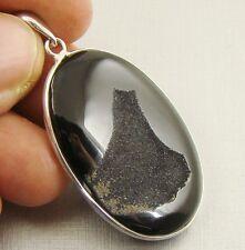 Semipreciosas negro ágata Druzy Piedras Preciosas Plata Esterlina 925 Colgante-B43
