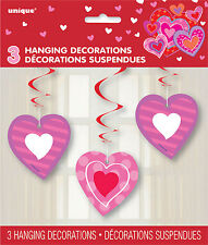 Valentines Hanging Heart Swirls Valentines Hanging party Decorations (Pack of 3)