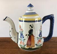 Vintage France HENRIOT QUIMPER Pottery Tea Pot Breton Woman Hand Painted Signed