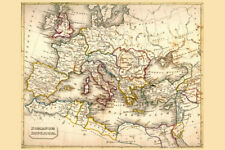 Roman Empire Antique Style Map Poster 12x18