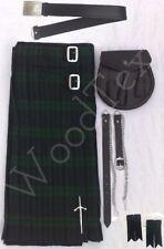 """Scottish Kilt Conjunto Traje Paquete de 7 Piezas, Negro reloj tartán, tamaños de 28"""" a 46"""""""