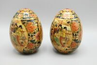 Antique Japanese Handpainted Satsuma Porcelain Eggs Geisha Ornament Set of 2