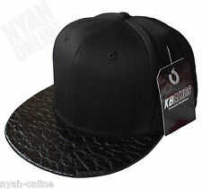 NEW PREMIUM SNAPBACK CAP *BLACK* PLAIN BASEBALL FITTED HIP HOP ERA FLAT PEAK HAT