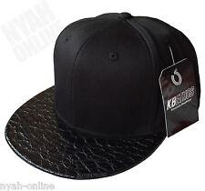 Nueva Premium Snapback Cap * Negro * Plain Béisbol ajustada Hip Hop era Plana Pico Sombrero