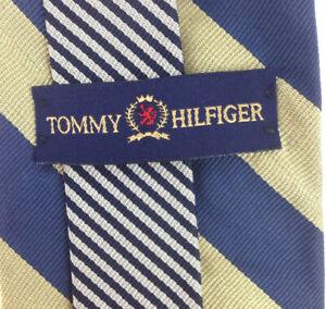 Vintage Tommy Hilfiger Tie USA  Imported Pure Silk Gold and Blue Stripe Tie  Neck wear 58 x 3.5 Vintage Tie Shop T222