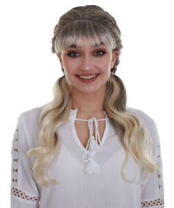 Women's Blonde Color Medium Length Pigtails Trendy Sassy School Girl Wig HW-6784
