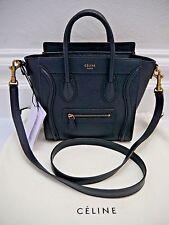 NEW CELINE Nano Luggage Bag Midnight dark blue leather hand crossbody handbag