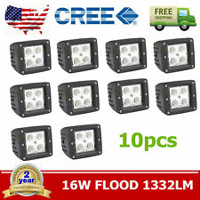 "10pcs 3"" 16W Square Outdoor Offroad CREE LED Work Driving Light Spot Cube Pods"