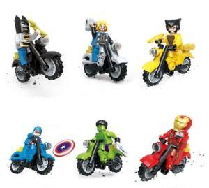 6Pcs DC Comic Marvel Ironman Superhero Motorbike & Mini Figure Sets Custom Lego