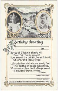 1905 Milwaukee Hammond Cradle Roll Blank Birthday Sunday School Greeting Card