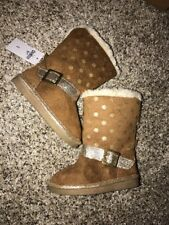 Oshkosh Toddler 5 Boots Fur Lined Tan Gold Sparkle Nwt